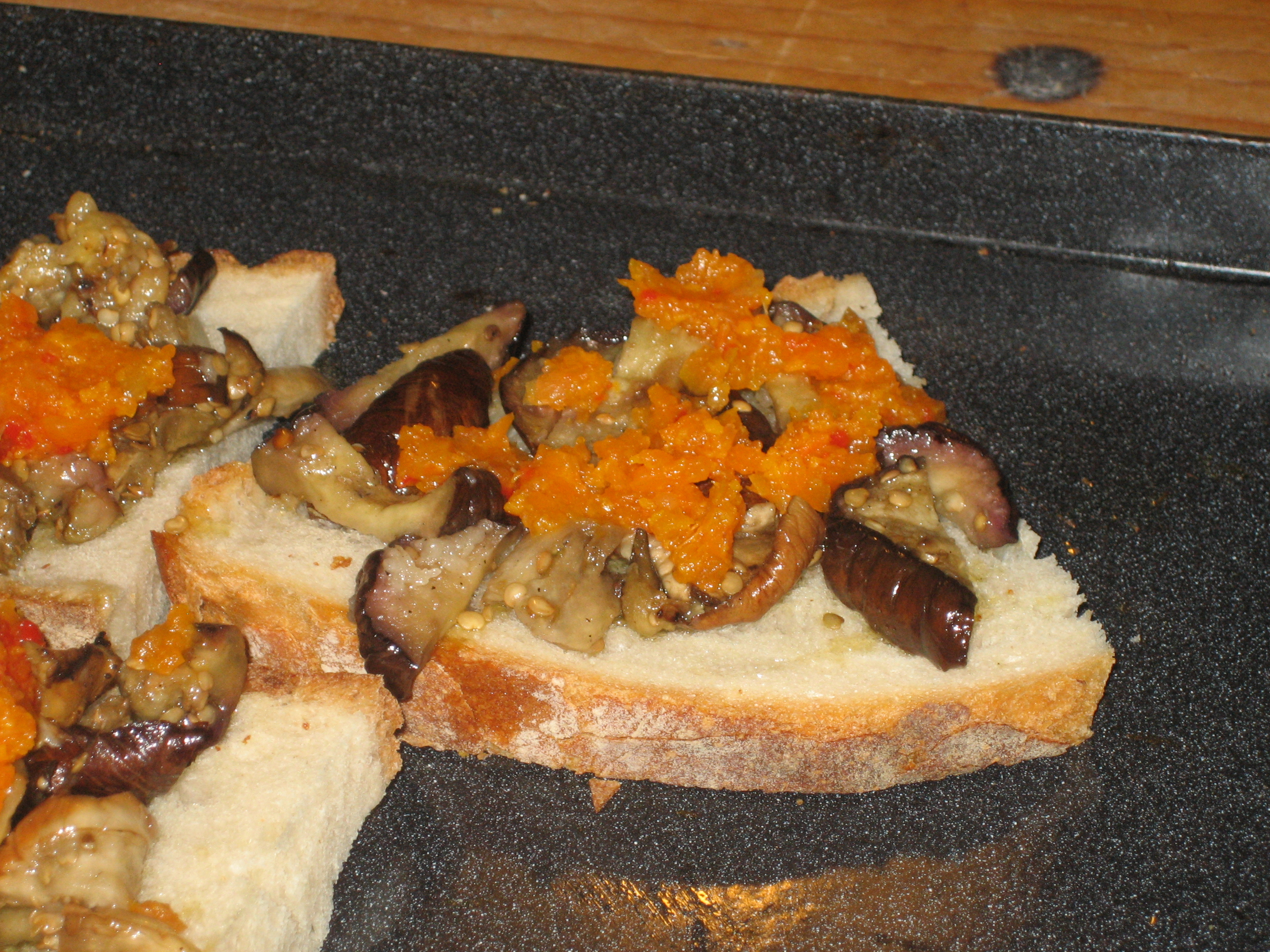 Grilled eggplant crostini with carrot relish